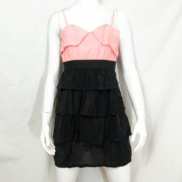 Ya Los Angeles Dresses & Skirts - NWT Ya Los Angeles Pink Black Ruffly Tiered Mini